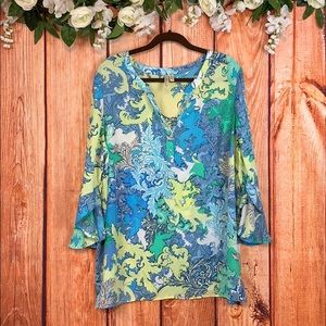 Chenault Boho Paisley Bell Sleeve Blouse 1131CH3
